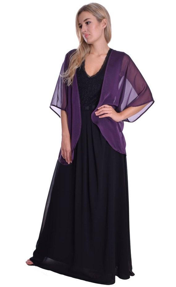 Kimono Style Sheer Chiffon Cardigan Shoulder Cover Up Open Style Plum