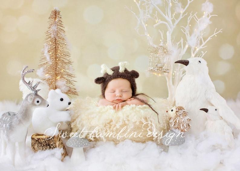 Newborn Photography Digital Background Snowy Scene 2 with Woodland Creatures