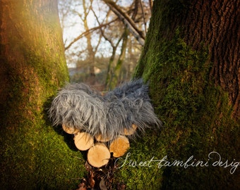 Outdoor Digital Newborn Photography background - Forest/Mossy tree grey bed