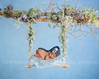 Newborn Digital for boys and girls - Blue digital, Wild swing, Instant Download, Ready for you to Edit