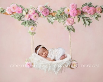 Newborn Digital Backdrop - Pink Dahlia Swing - Instant Download, Floral Digital Swing decorated with fresh flowers