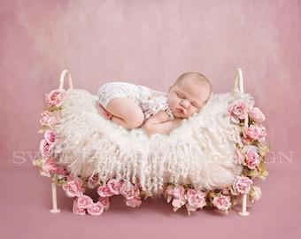 Newborn Photography Digital Backdrop Vintage Rose Bed Instant Download