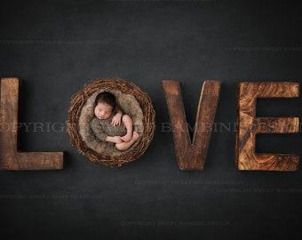 Newborn Digital Backdrop for boys or girls - Rustic Love in Charcoal grey