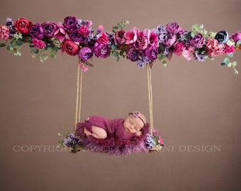Newborn Floral Swing Digital Backdrop - beautiful peonies in shades of fuschia and purple
