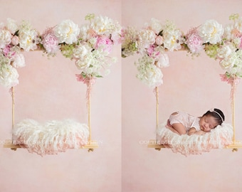 Newborn Digital Background - Pink and White Peony Swing, Fresh Flowers, Instant Download, Ready for you to Edit