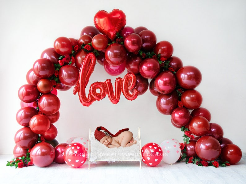 Valentines Day Newborn Digital Backdrop LOVE Balloon Arch with roses