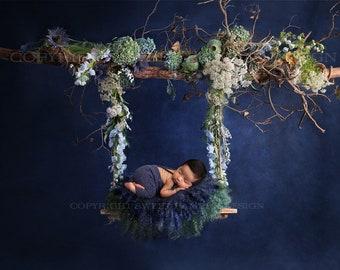 Newborn Digital Backdrop - Navy digital backdrop,  Fresh floral swing , Instant Download, Ready for you to Edit