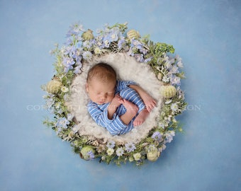 Newborn Digital Background - Wildflower Nest, Instant Download, Ready for you to Edit