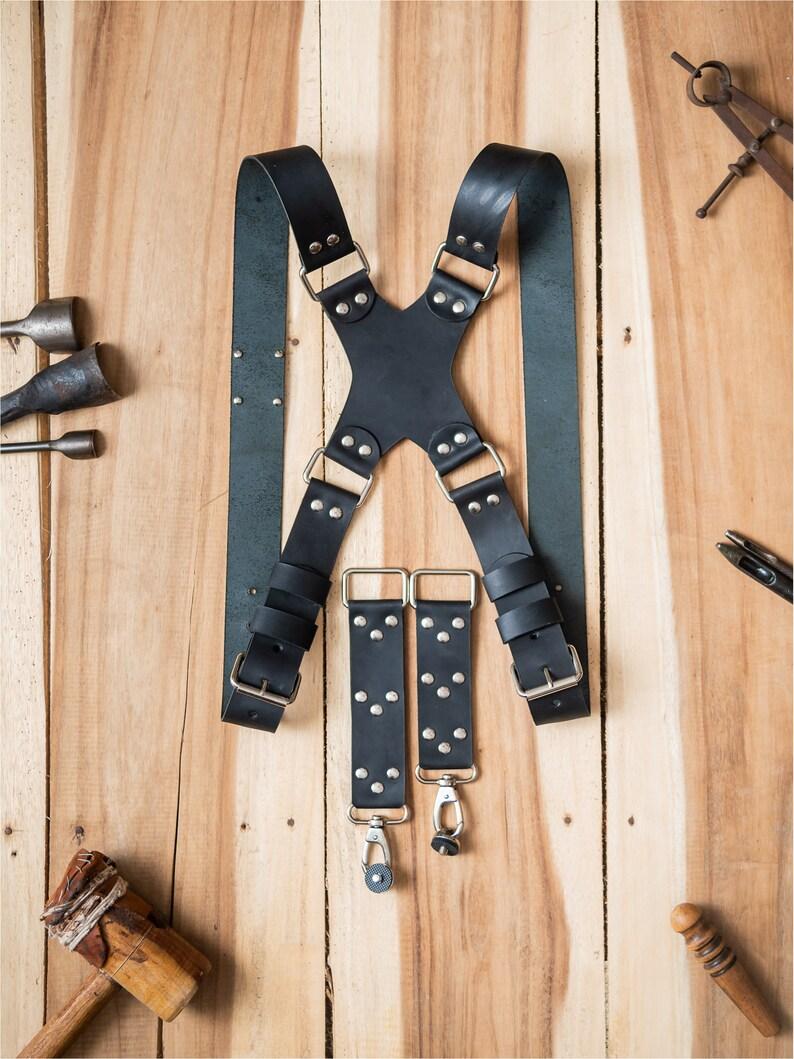 Leather Dual Camera Harness TripleMulti Camera Strap for Photographers Black Matte Finish