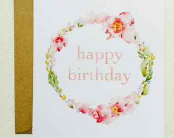 Happy Birthday Wreath I GREETING CARD June Watercolor Art Greeting Cards By