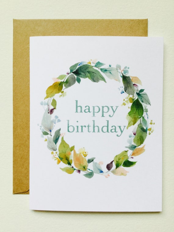 Happy Birthday Wreath II GREETING CARD June Watercolor