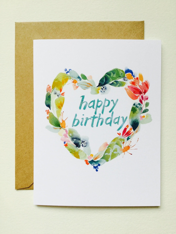 Bday Cactus Heart GREETING CARD June Watercolor