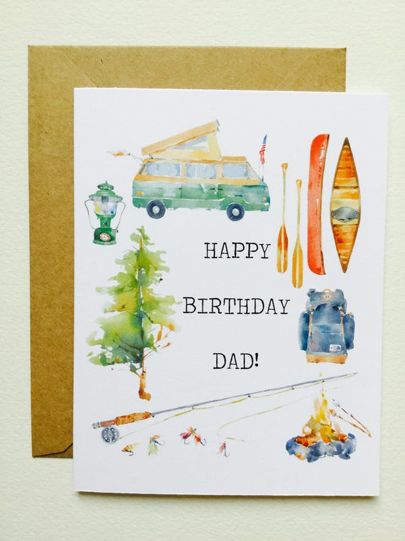 Happy Bday Dad Camping Greeting Card June Watercolor June Etsy