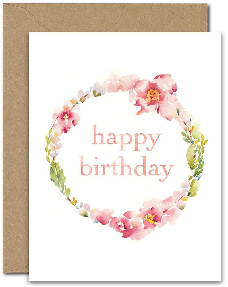 Happy Birthday Wreath I Bday 3 GREETING CARD June