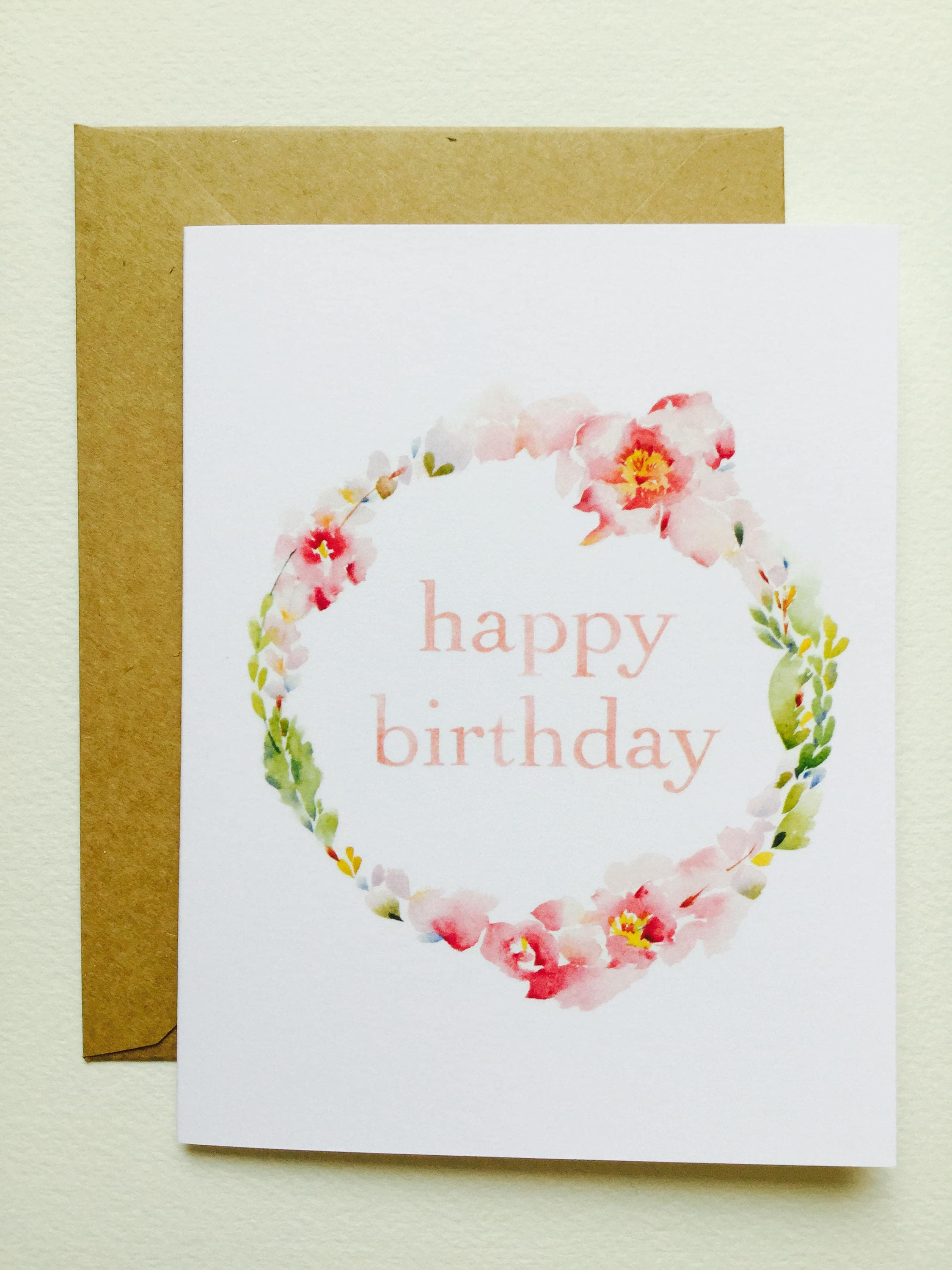 Happy Birthday Wreath I GREETING CARD June Watercolor