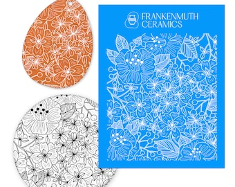 Clay Stencils Silk Screen for Ceramics or Polymer Clay Underglaze Flowers Design 4.75x5.5 Sheet Greenware or Bisque Clay Printing