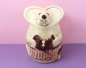 MOUSE Cookie Jar - Vintage NS Gustin Co Apron Canister Storage - Retro Kitchen Home Decor Country Farmhouse Cute Adorable Baking Boho Pink