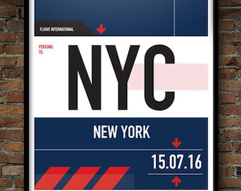 Personalized New York city airport codes print in style of vintage luggage tag. Unique travel print with airport codes. 4 different styles