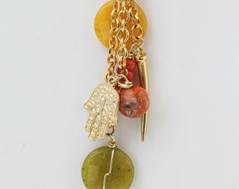 Gold-Filled Necklace with Green and Yellow Agates. FK. MyLittleBoxJewlery