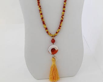 Long Necklace with Red and Yellow Agates with Cristal Pendant. FK. MyLittleBoxJewlery