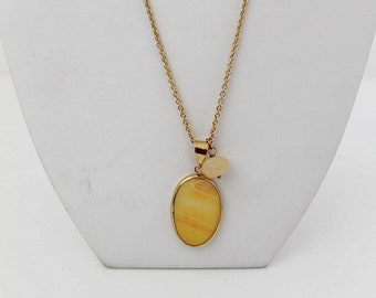 Gold-filled Necklace with Yellow Agate and Pendant. FK. MyLittleBoxJewelry