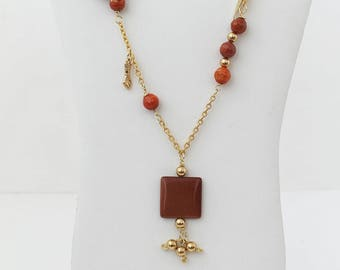 Gold-Filled Long Necklace with Brick Agate Pendant. FK. MyLittleBoxJewlery
