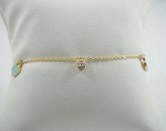 Stainless Steel Ankle Bracelet with Heat Pendants and Zircon. WHITE. MyLittleBoxJewlery