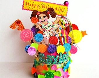 Candy Birthday cake topper - Candy Birthday cake topper -  Candies cake topper  - lollipop birthday party - Custom cake topper