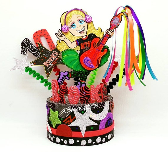 Remarkable Rock N Roll Birthday Cake Topper Girl Topper Personalized Etsy Funny Birthday Cards Online Overcheapnameinfo