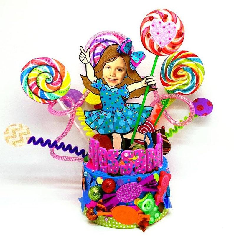 Custom cake topper Lollipop birthday party Candy Birthday cake topper Gumball Party Sweet Shoppe Birthday Candies cake topper