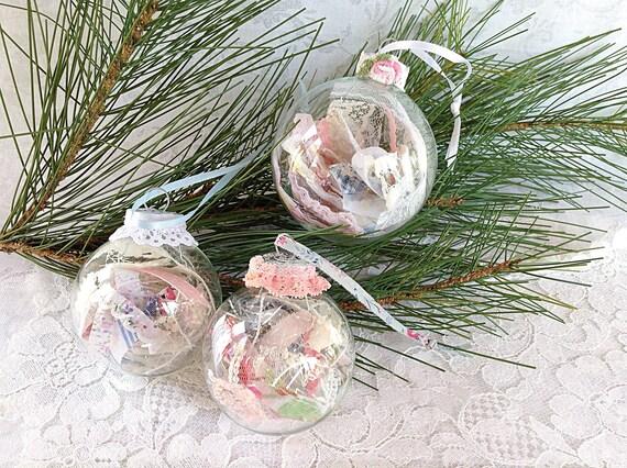 Pastel Christmas Ornaments.Pastel Christmas Ornaments Clear Glass Ornament Shabby Ornament Set Filled Ornament Round Glass Ornament Shabby Tree Ornament