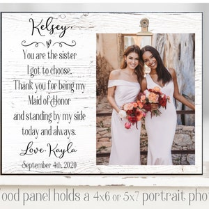 Matron of honor gift Sister of the Bride frame sister of the bride gift sister in law gift personalized wedding picture frame