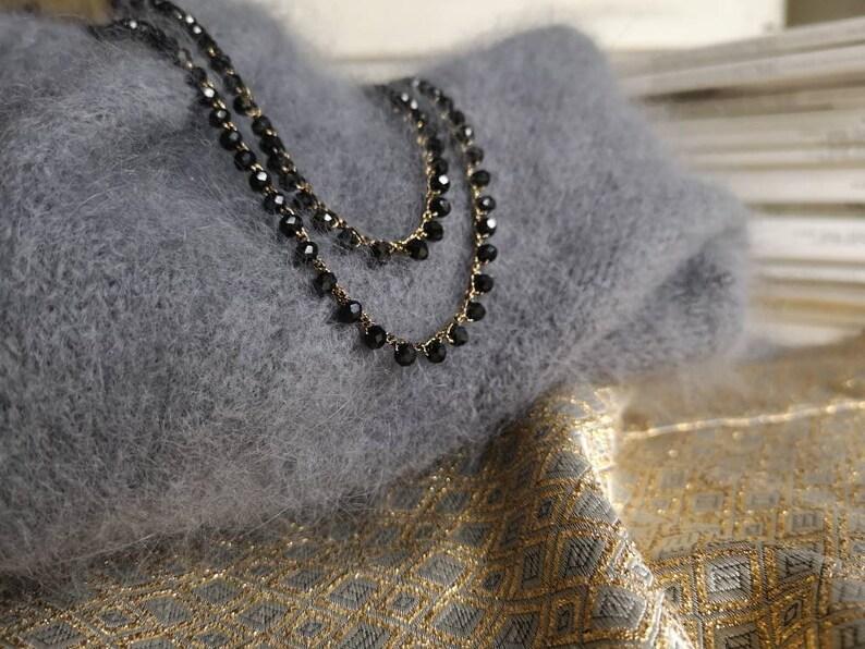 Collana Rosario Con Perline Di Cristalli Neri E Un Bellissimo Etsy