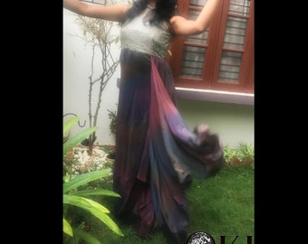 6f66310c271 Galaxy dyed multicoloured draped Gown