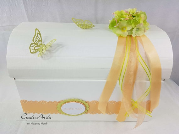 Letter Box Chest Hydrangea Apricot Wedding Gift Etsy