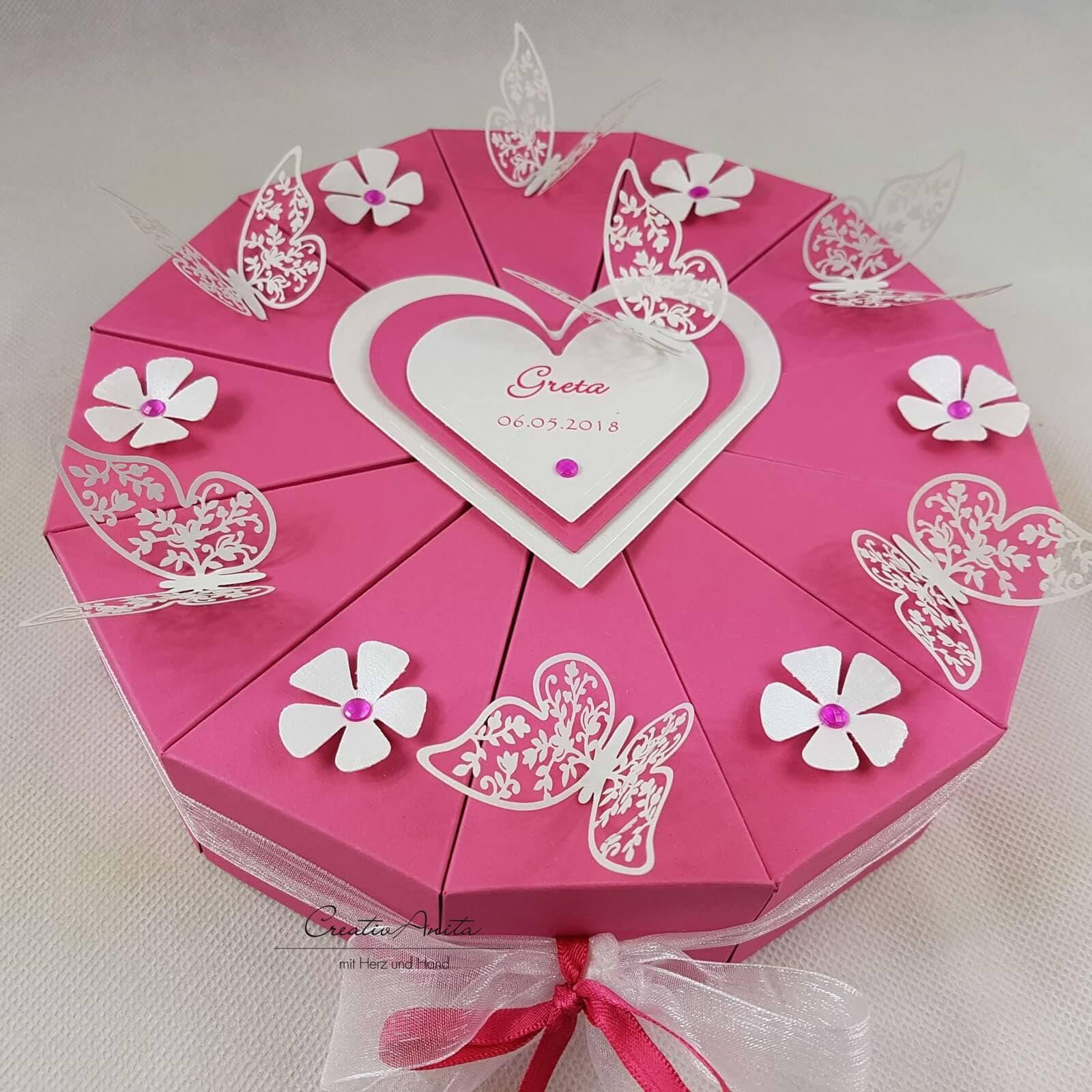Coffret gâteau gâteau argent papillons rose argent gâteau cadeau 8279ce