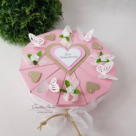 Stupendous Romantic Birthday Cake Box Tart In Pink White With Lace Etsy Funny Birthday Cards Online Inifofree Goldxyz