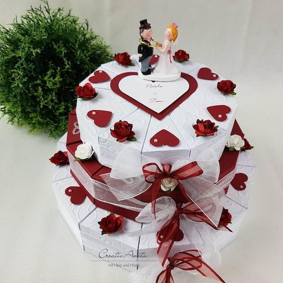 Wedding Cake Gift 3 Storey Bordeaux Weiss Etsy