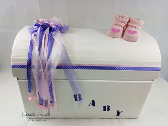 Remembrance Box Chest Taufe Geburt Baby Purple Pink