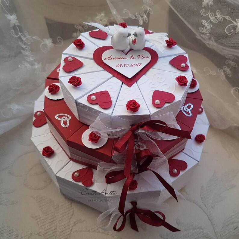 Wedding Cake Gift 3 Storey Rot Weiss Etsy
