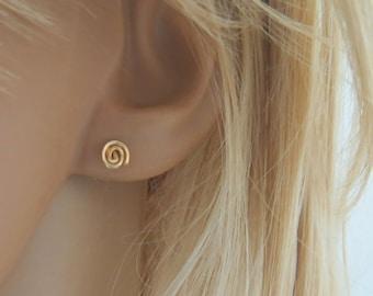 Small stud earrings, spiral earrings, swirl earrings, gold post earrings