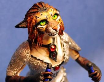 Khajiit Skyrim figure The Elder Scrolls oblivion morrowind TES warrior cat assasin armor figurine anthro figurine fantasy sculpture