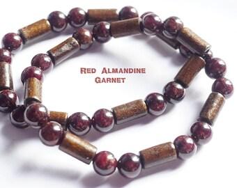 Talisman~8 mm Red Garnet, Top Quality Genuine Natural Red Almandine, Garnet, Beads Double Gemstone Bracelet