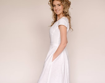 Long White Casual Wedding Dress