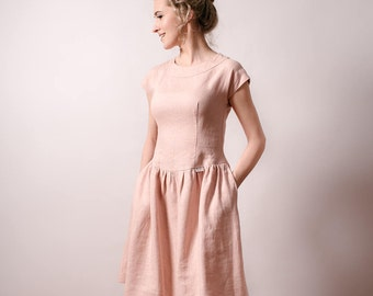 Pastel pink dress wedding guest