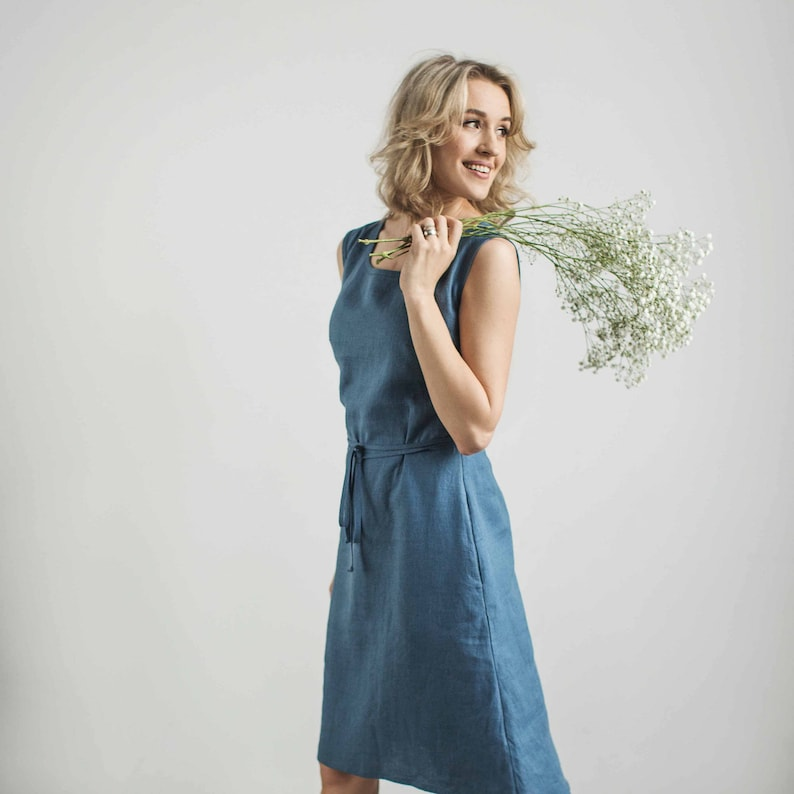 7931d3cd19f5 Linen sundress modest dress bridesmaid dress wedding guest | Etsy