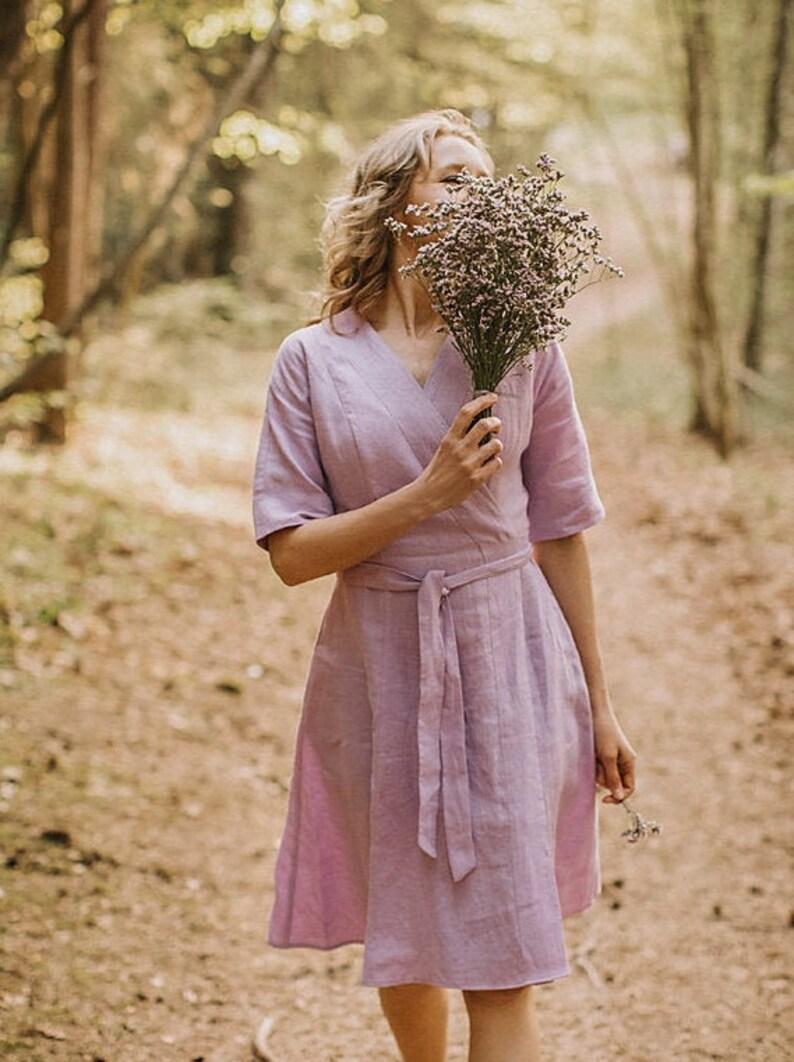 Leinen wickeln Kleid Lavendel Kleid Stillen Kleid Leinen ...