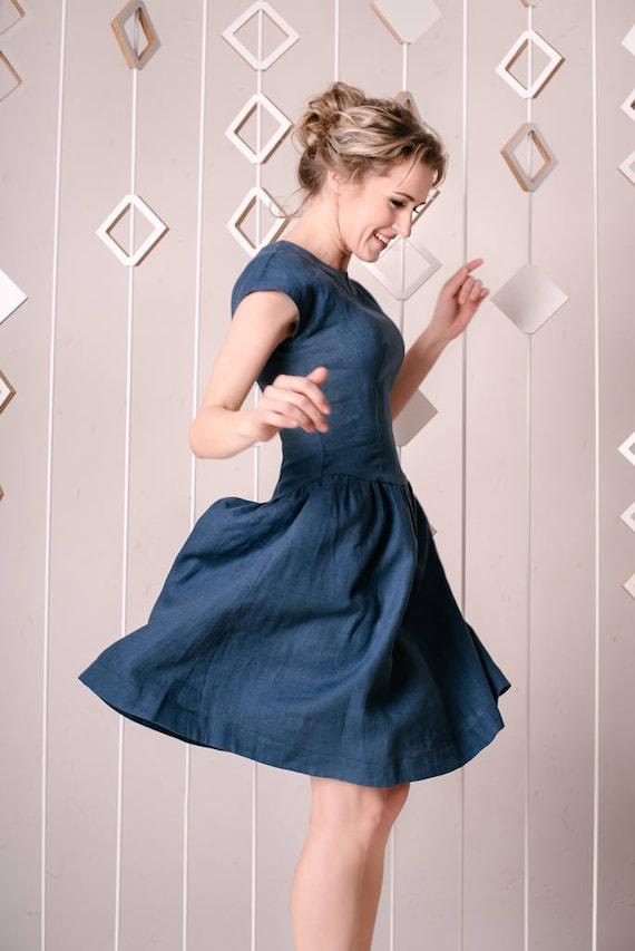 Linen Dress Wedding Guest Dress Navy Blue Dress Linen Clothing Lithuania Linen Bridesmaid Dress Linen Wedding Dress Romantic Dress