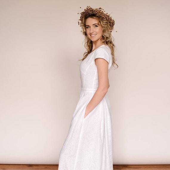 Simple Wedding Dress Europe: Linen Wedding Dress Simple Wedding Dress Modest Wedding