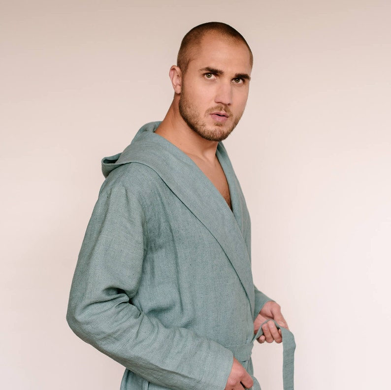 Mens hooded robe hooded linen bathrobe linen bath robe  40e6a1bf7
